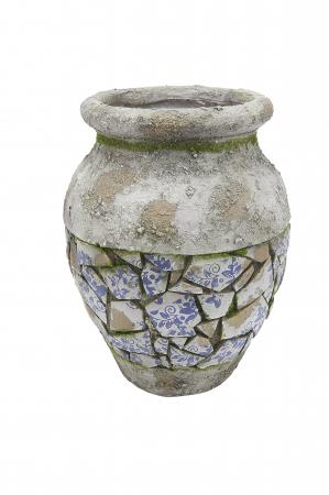 Vaza Mosaic, compozit, gri, 32x25 cm0