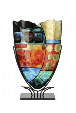 Vaza NEBRA, sticla/metal, 57x10.5x35 cm0