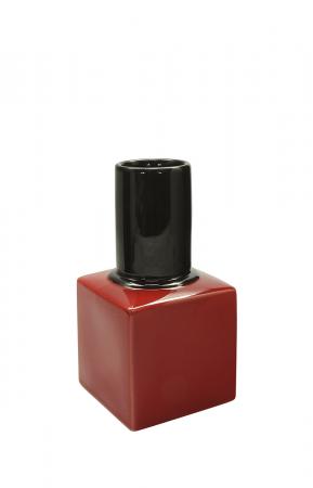 Vaza oja Milano, ceramica, rosu/negru, 9.5x9.5x18 cm0