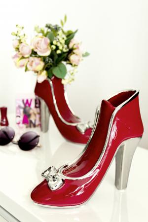 Vaza pantof Milano, ceramica, rosu, 21.5x8x20 cm0