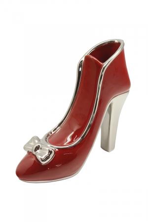 Vaza pantof Milano, ceramica, rosu, 21.5x8x20 cm1