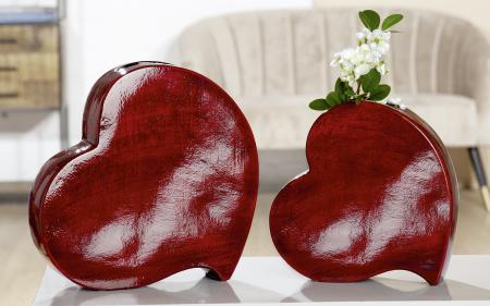 Vaza Romantika, ceramica, rosu, 31x31x8 cm0