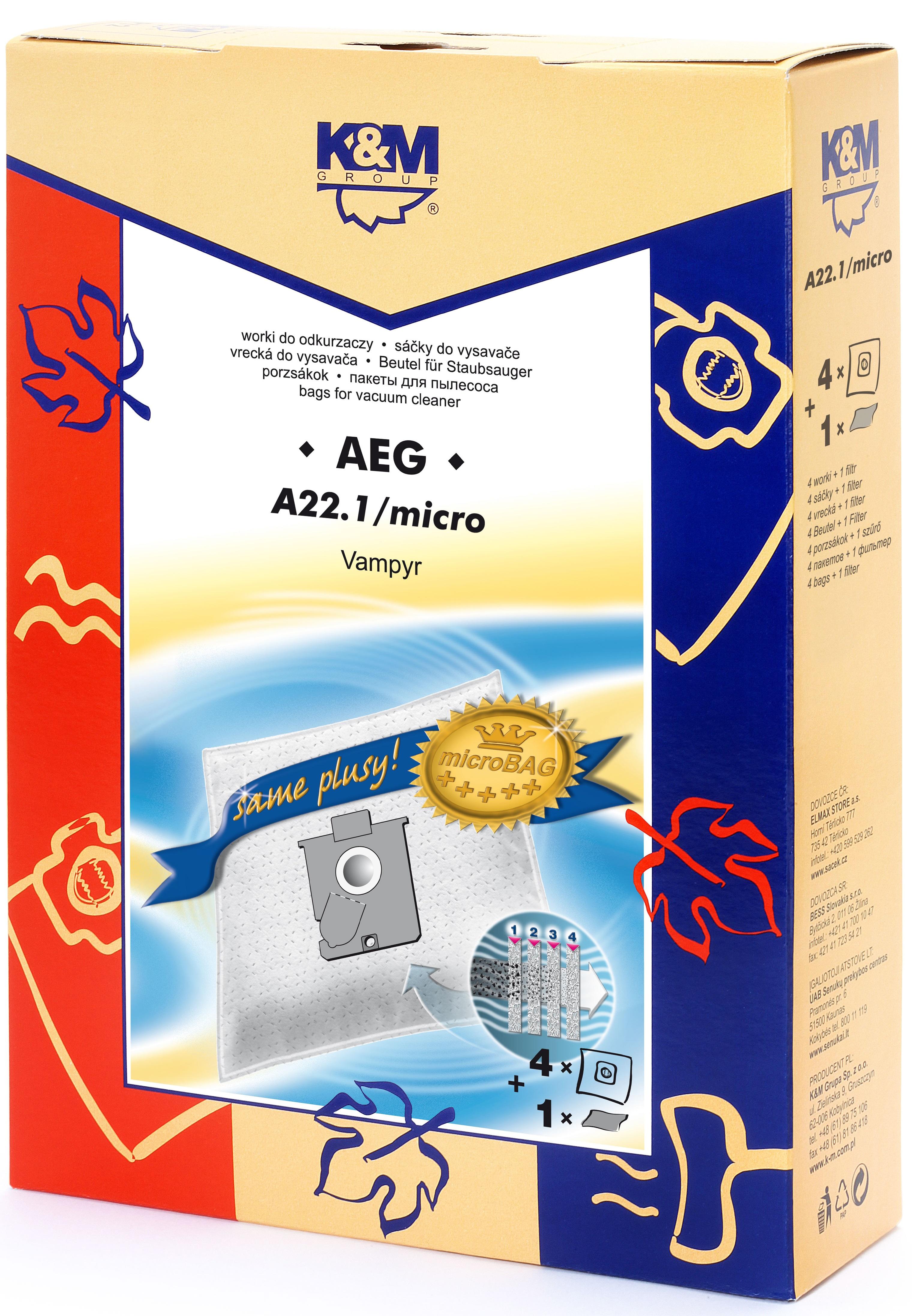 Sac aspirator AEG GR 22/24/25, sintetic, 4 saci + 1 filtru, K&M 0
