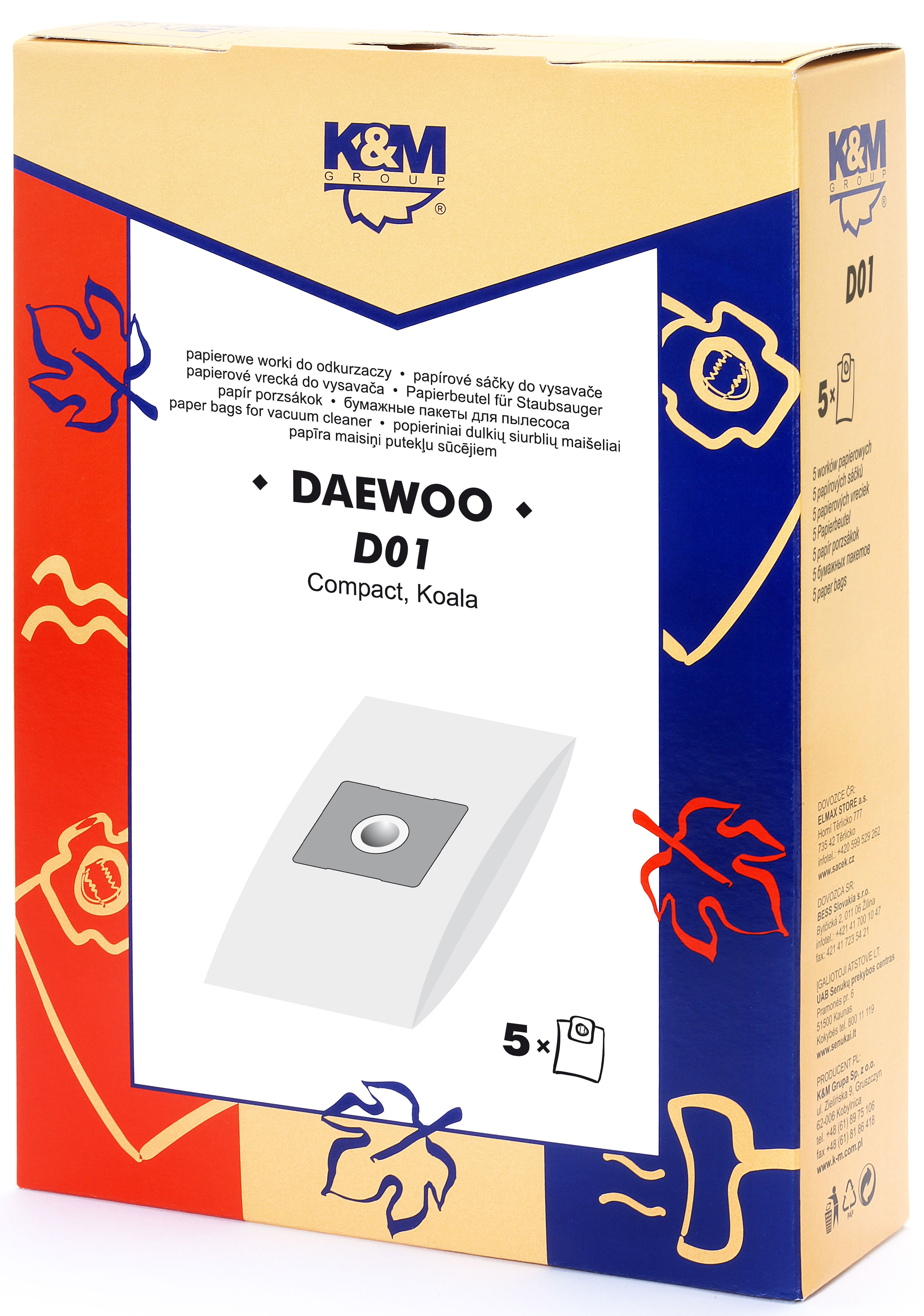 Sac aspirator DAEWOO RC 105/407/705, hartie, 5X saci, K&M [0]