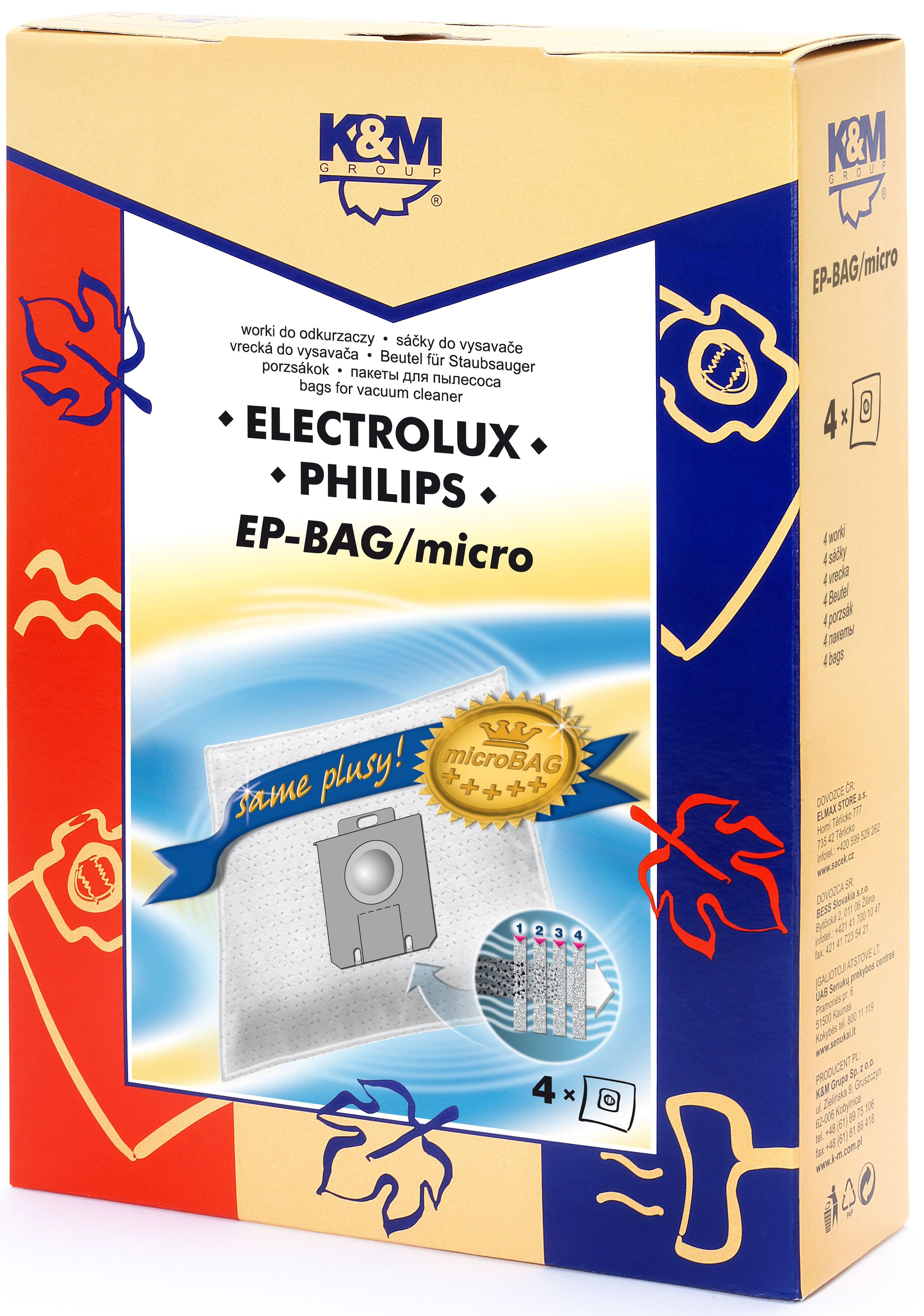 Sac aspirator Electrolux-Philips Universal (S-Bag), sintetic, 4x saci, K&M [0]