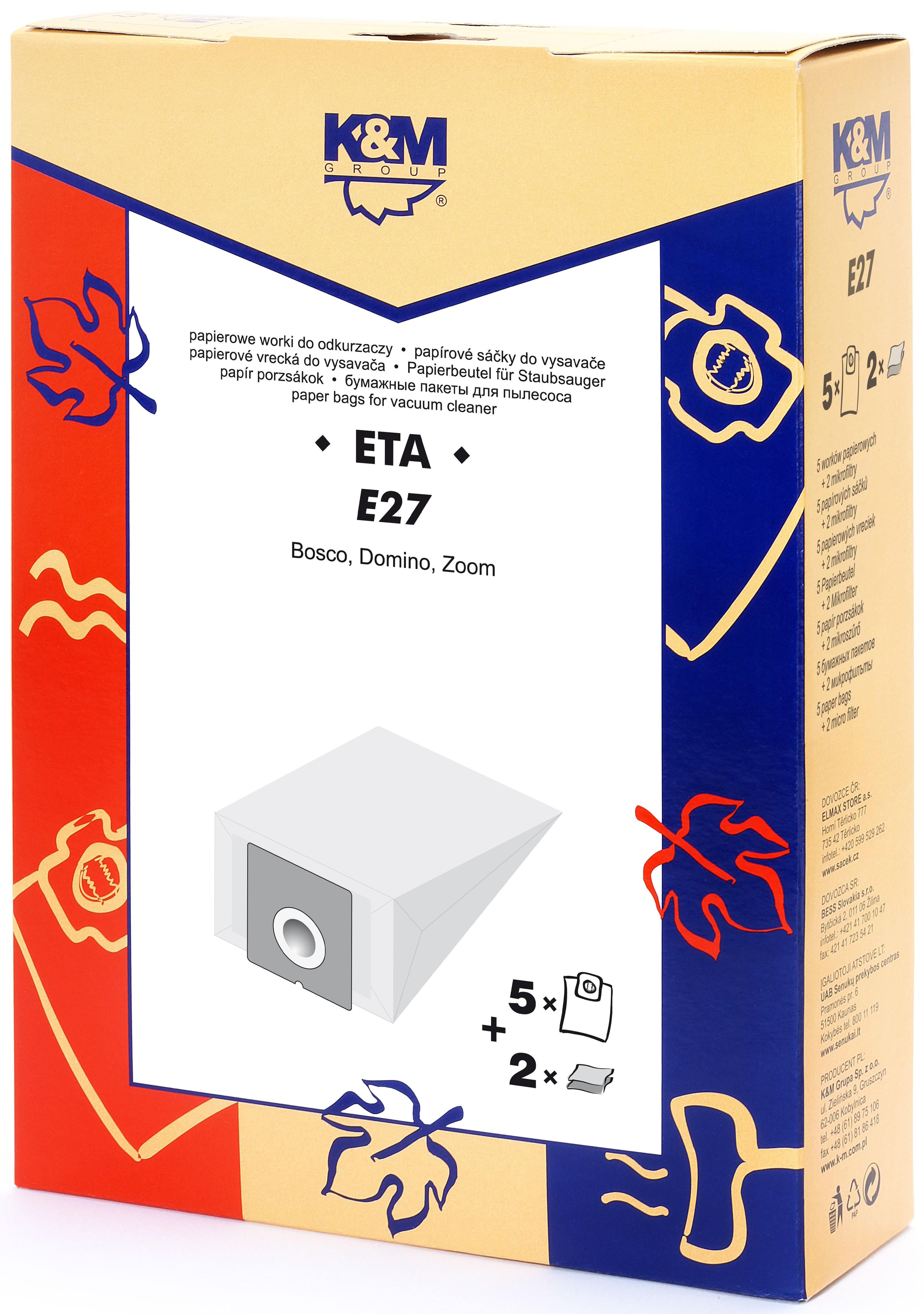 Sac aspirator ETA 419, hartie, 5X saci + 2 filtre, K&M [0]