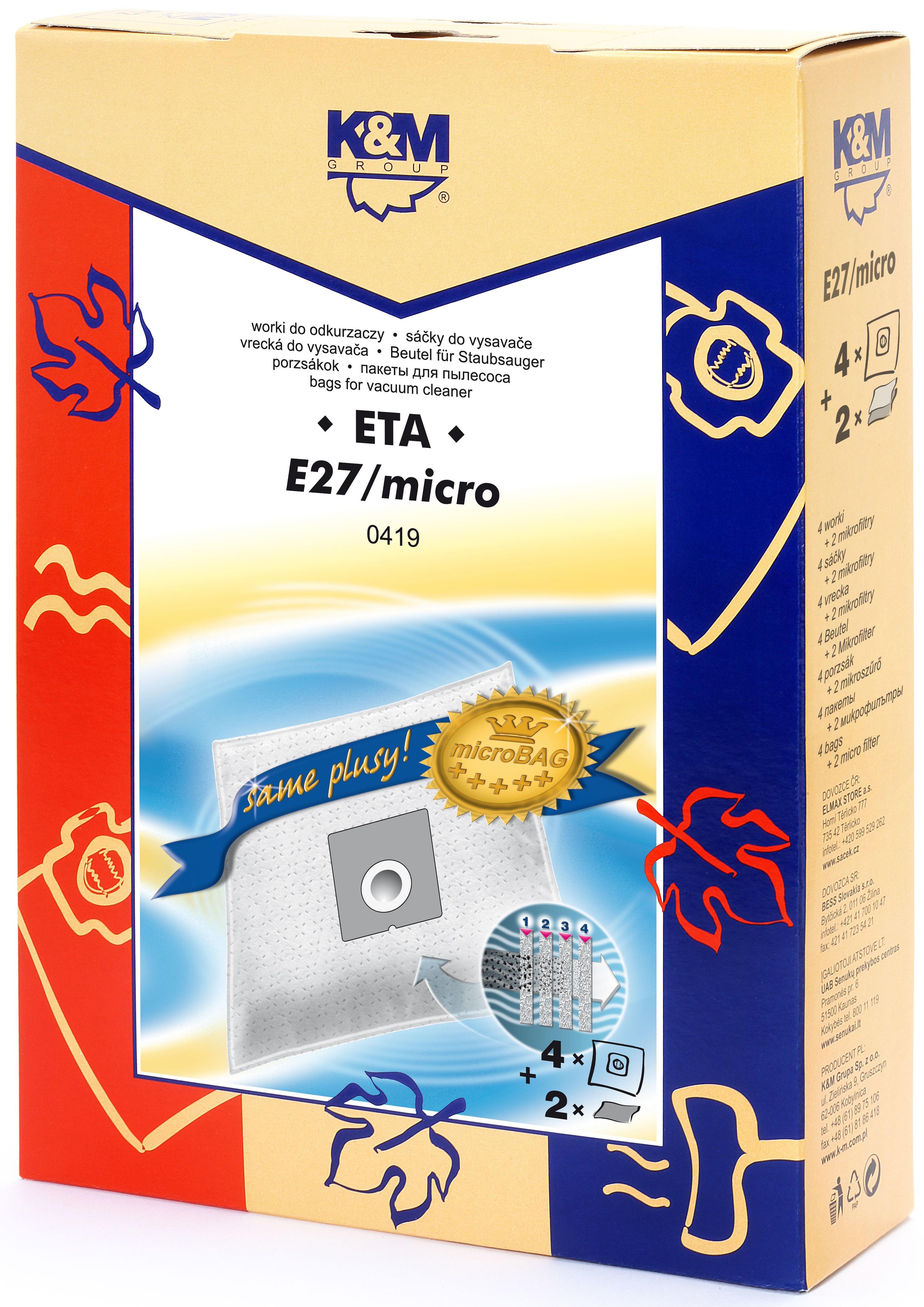 Sac aspirator ETA 419, sintetic, 4X saci + 2 filtre, K&M 0