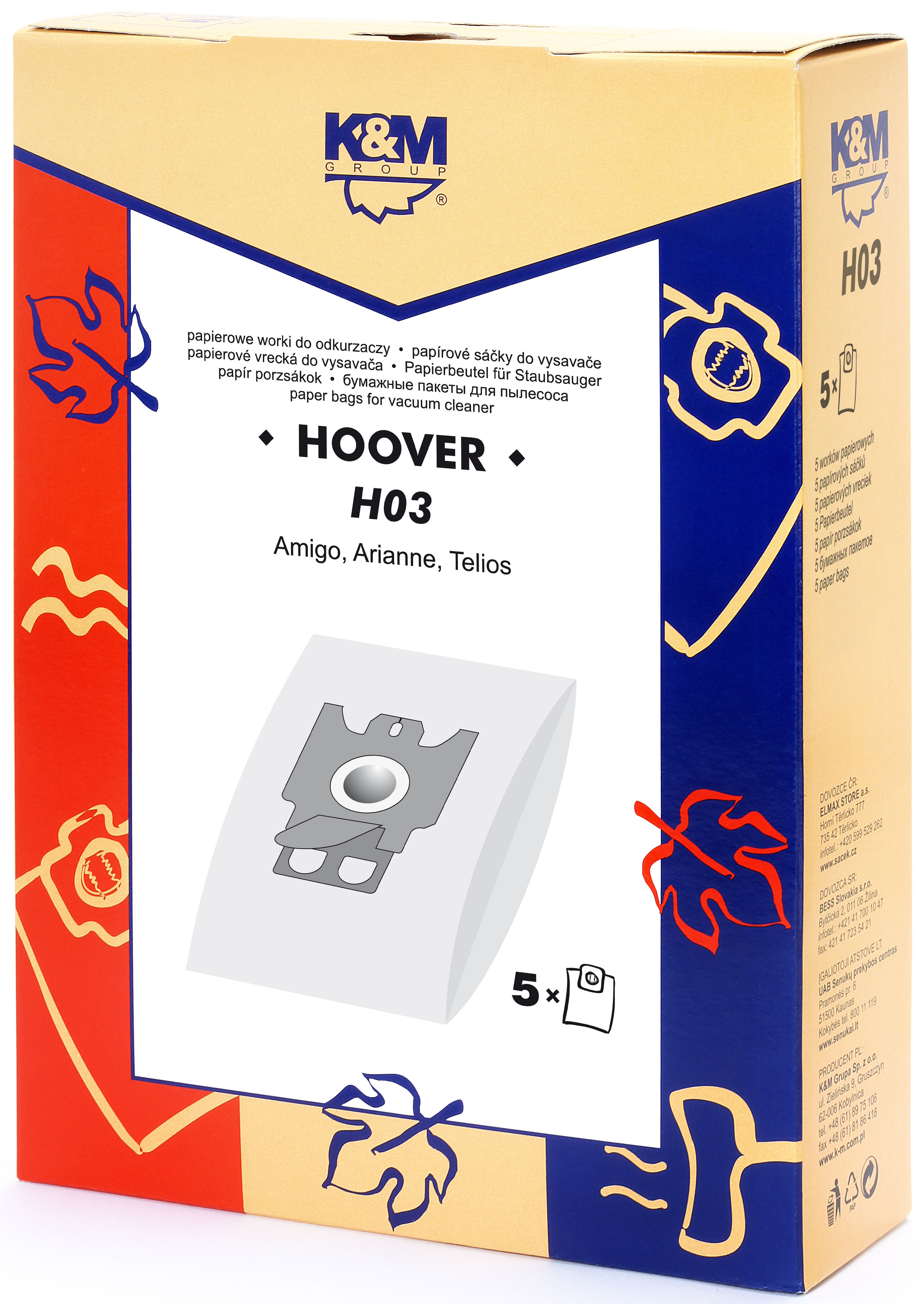 Sac aspirator Hoover H30, hartie, 5X saci, K&M [0]