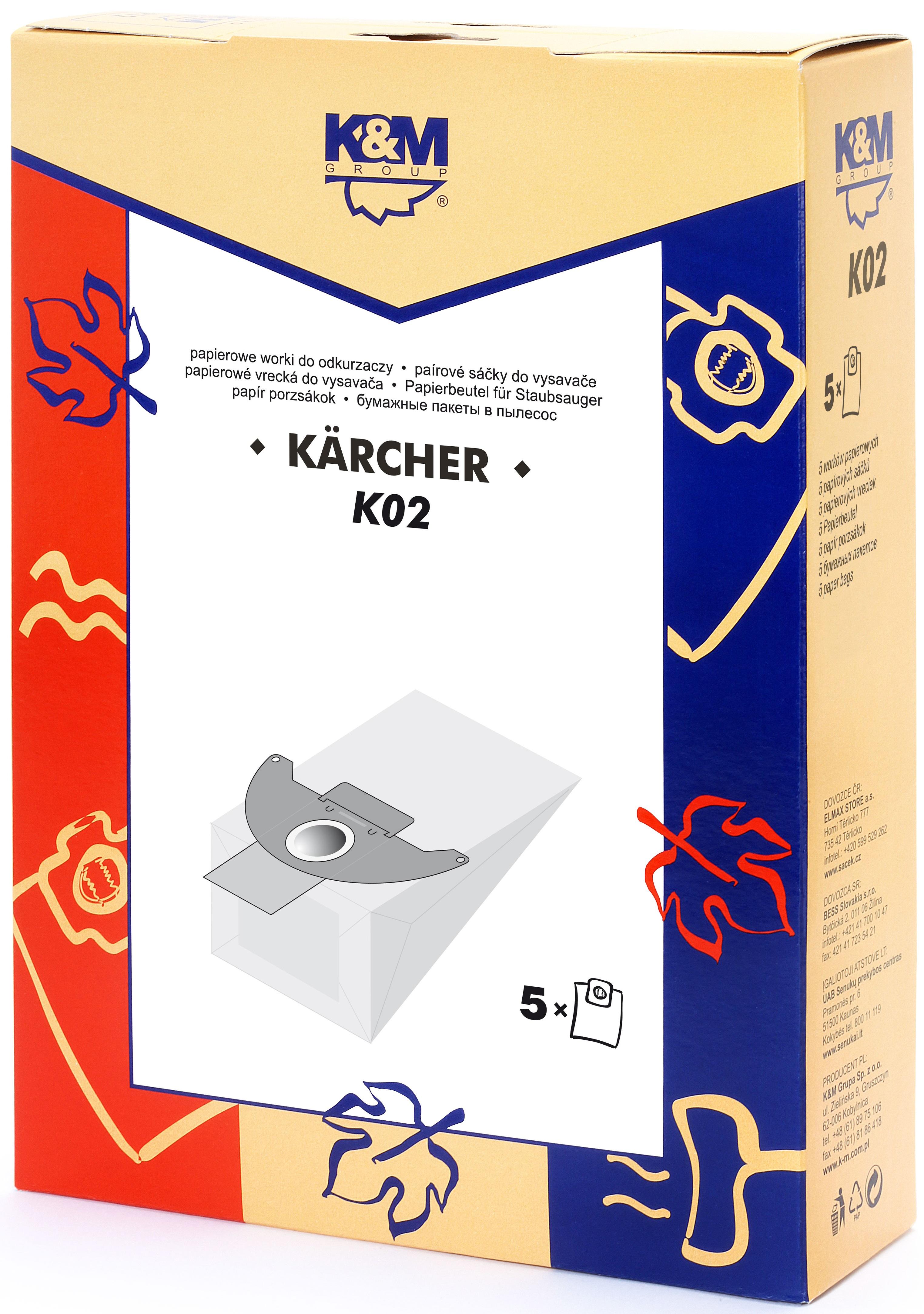 Sac aspirator KARCHER 2501, hartie, 5X saci, K&M 0