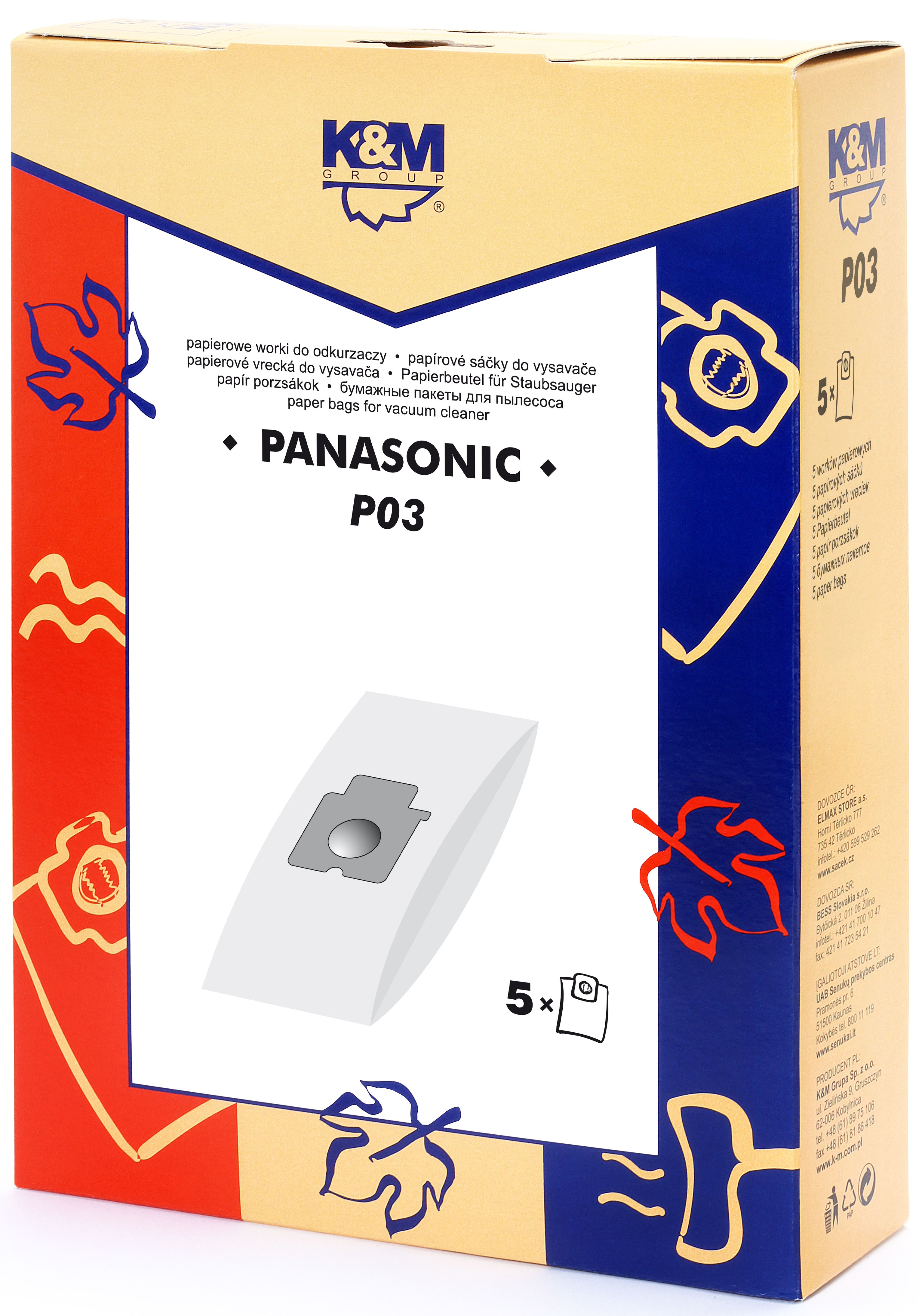 Sac aspirator Panasonic C-20E, hartie, 5X saci, K&M 0