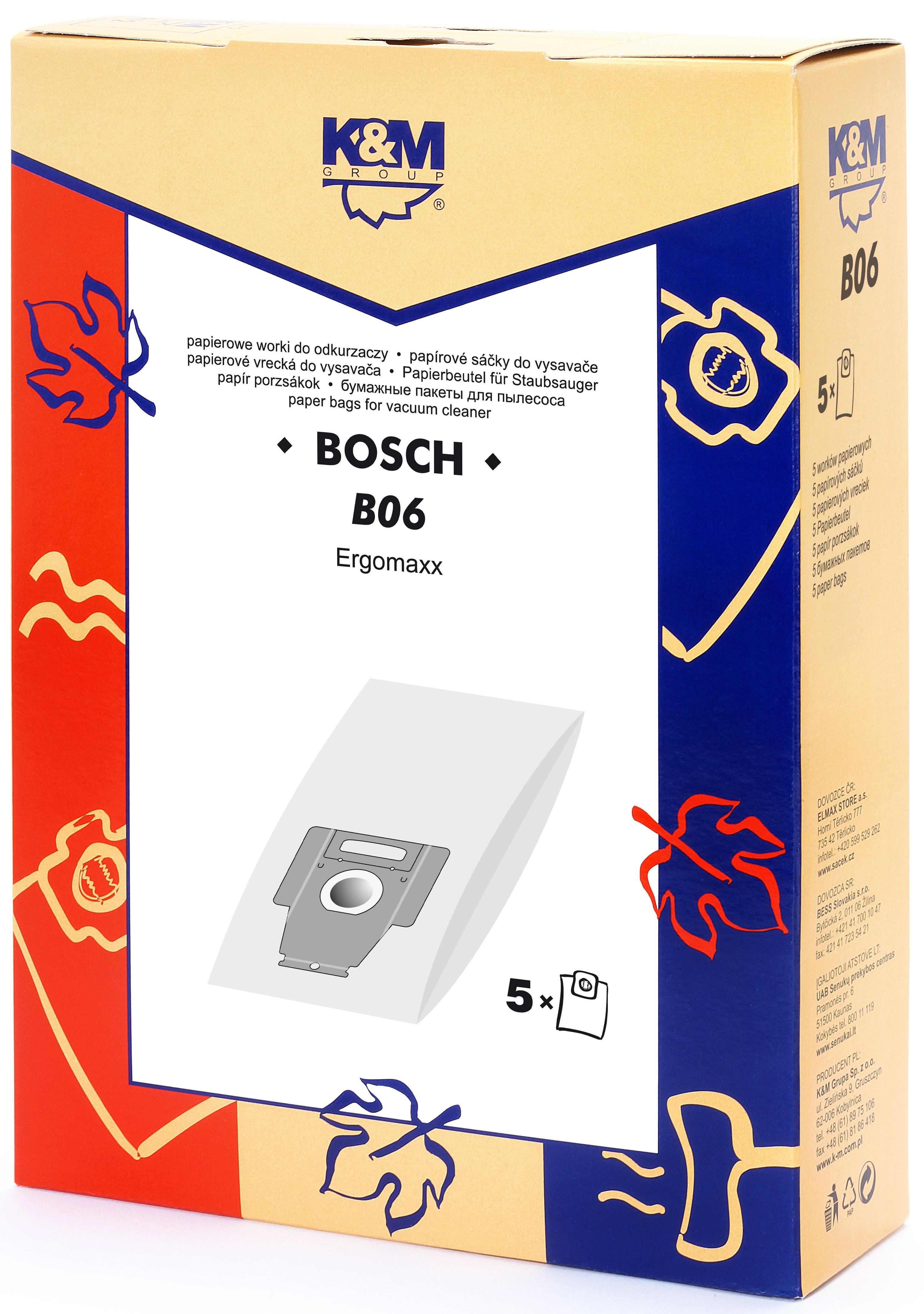 Sac aspirator pentru Bosch typ P, hartie, 5X saci, K&M 0