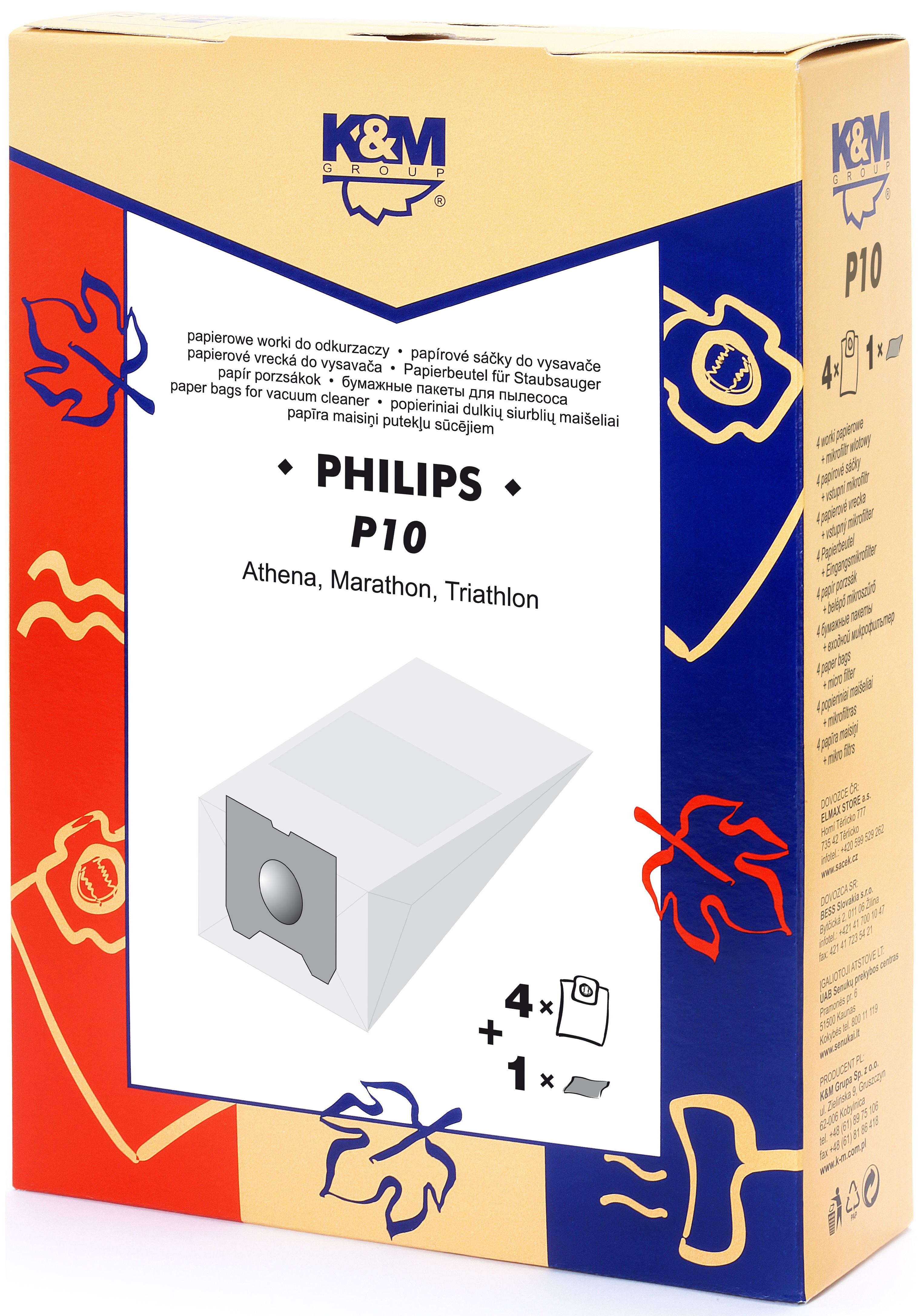 Sac aspirator Philips Athena, hartie, 4X saci + 1X filtru, K&M 0