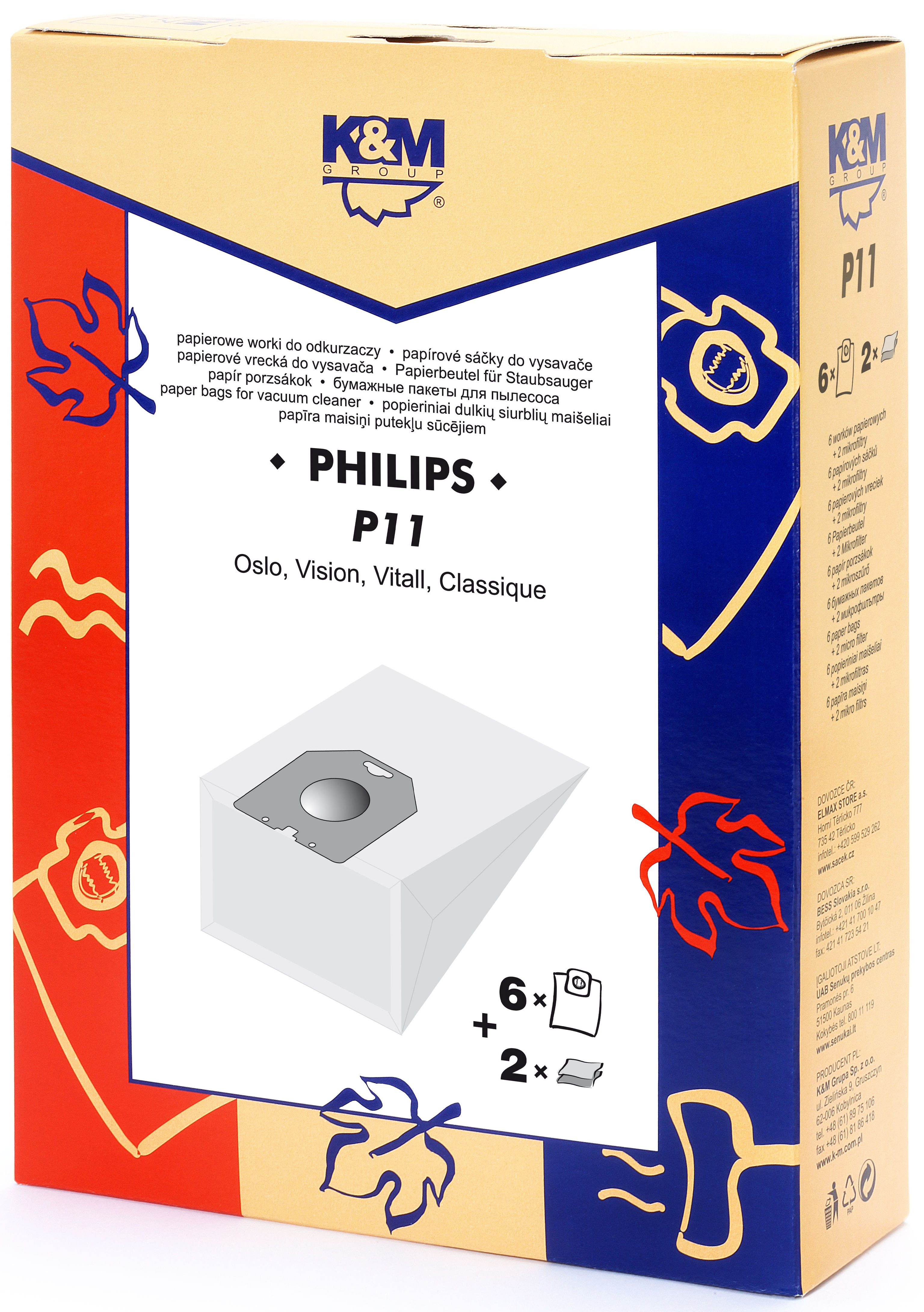 Sac aspirator Philips Oslo, Vision, hartie, 6X saci + 2X filtre, K&M 0