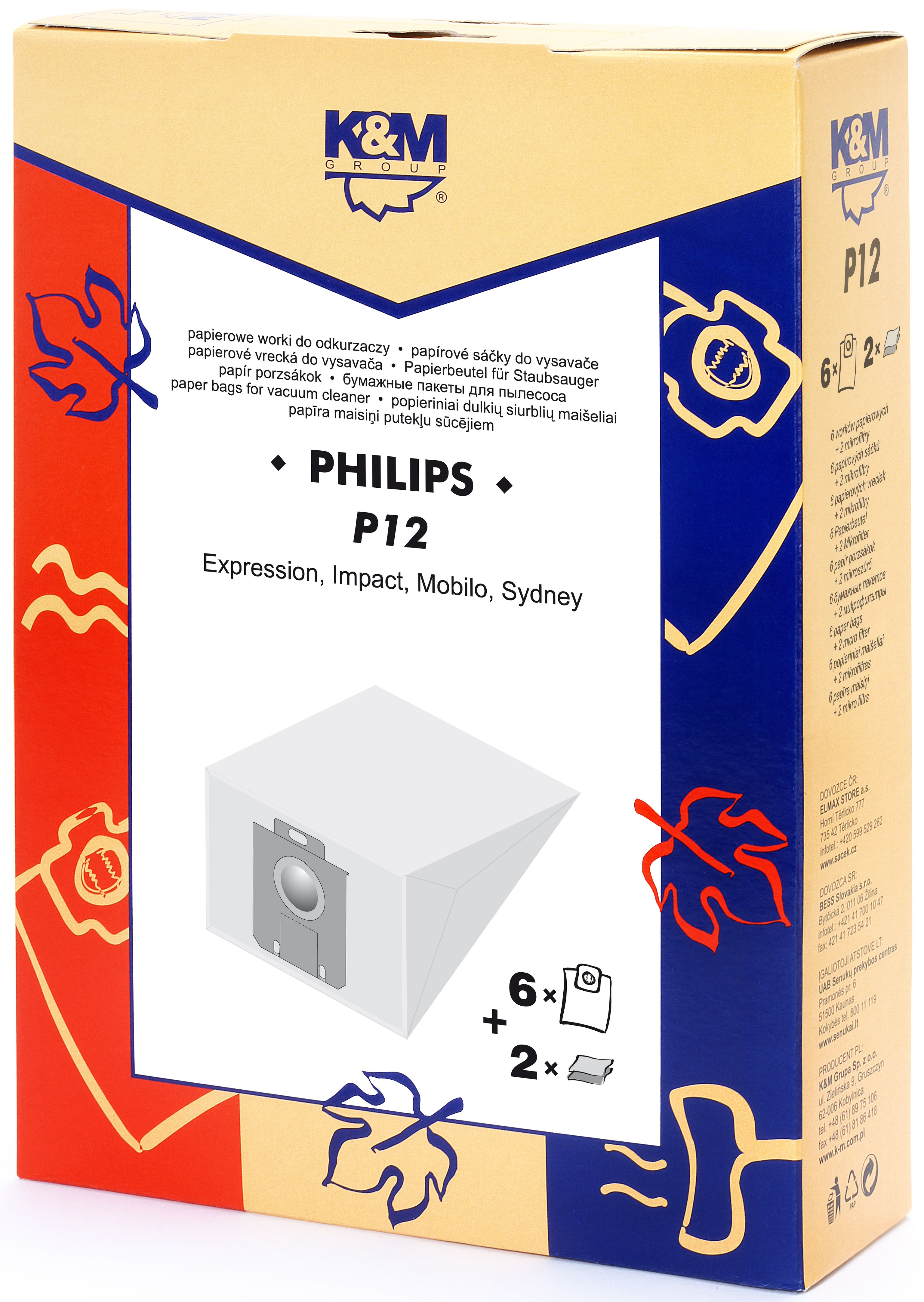 Sac aspirator Philips Sydney, hartie, 6x saci + 2 filtre, K&M [0]