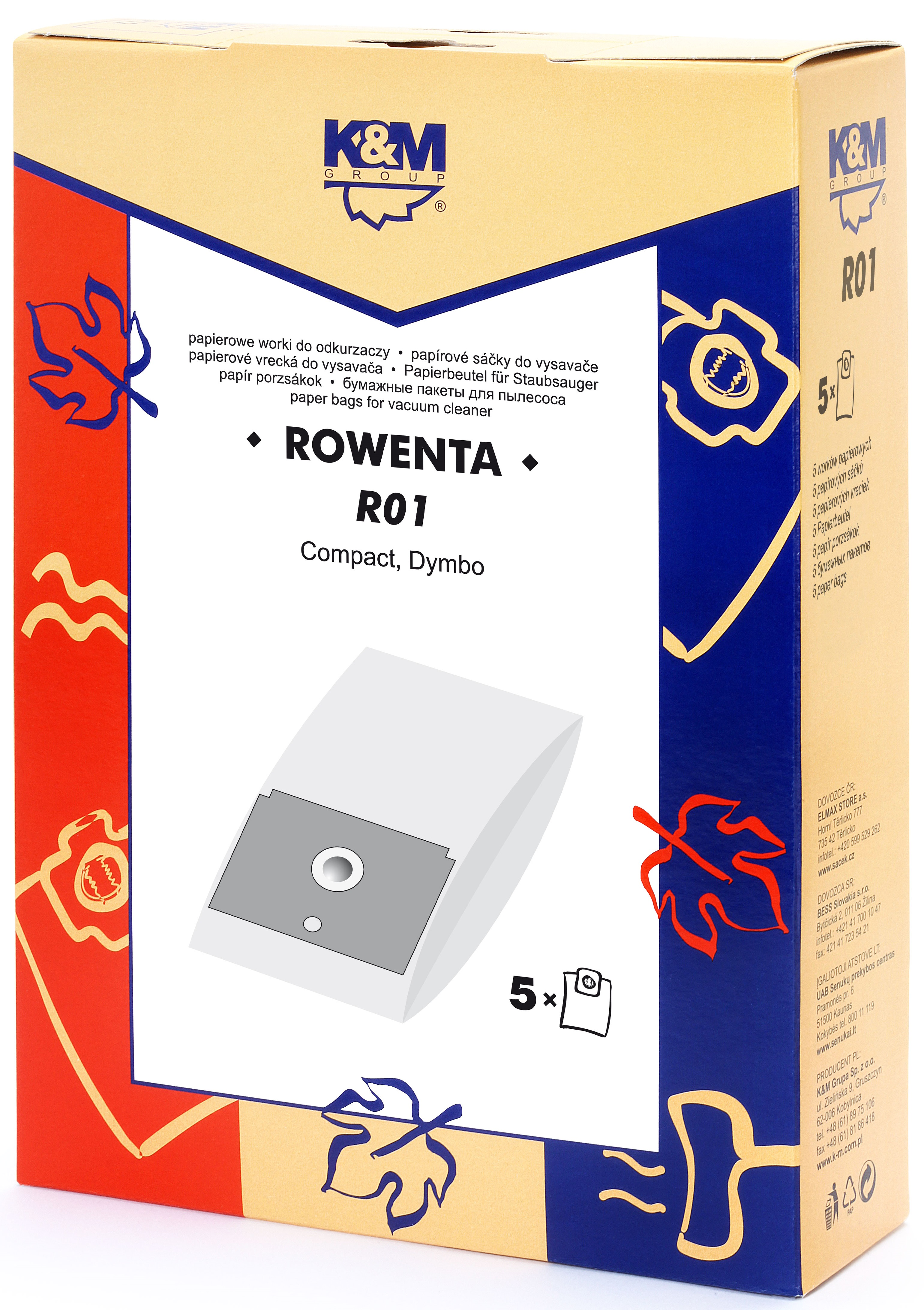 Sac aspirator Rowenta ZR745, hartie, 5X saci, K&M 0