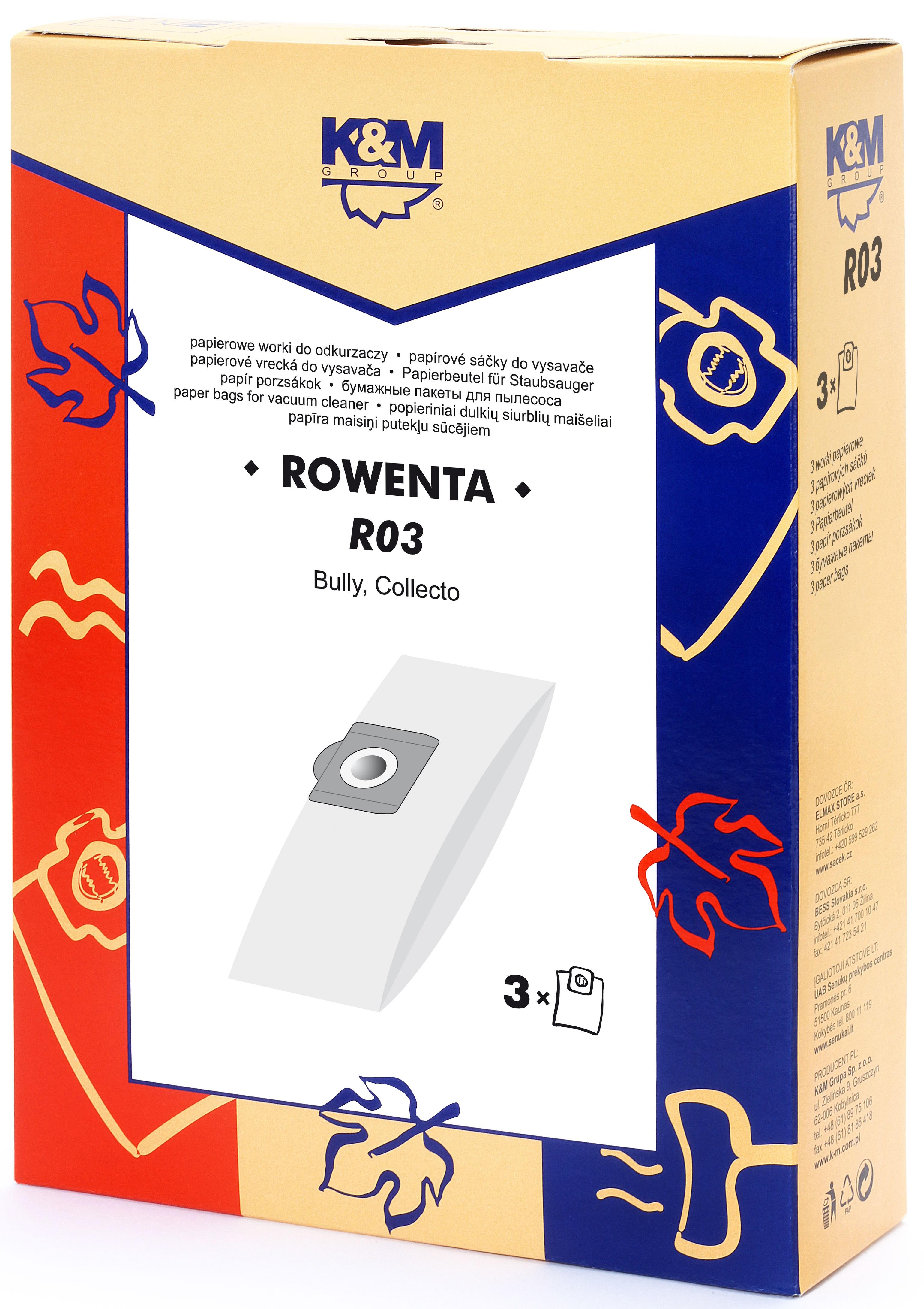 Sac aspirator Rowenta ZR814, hartie, 3X saci, K&M 0