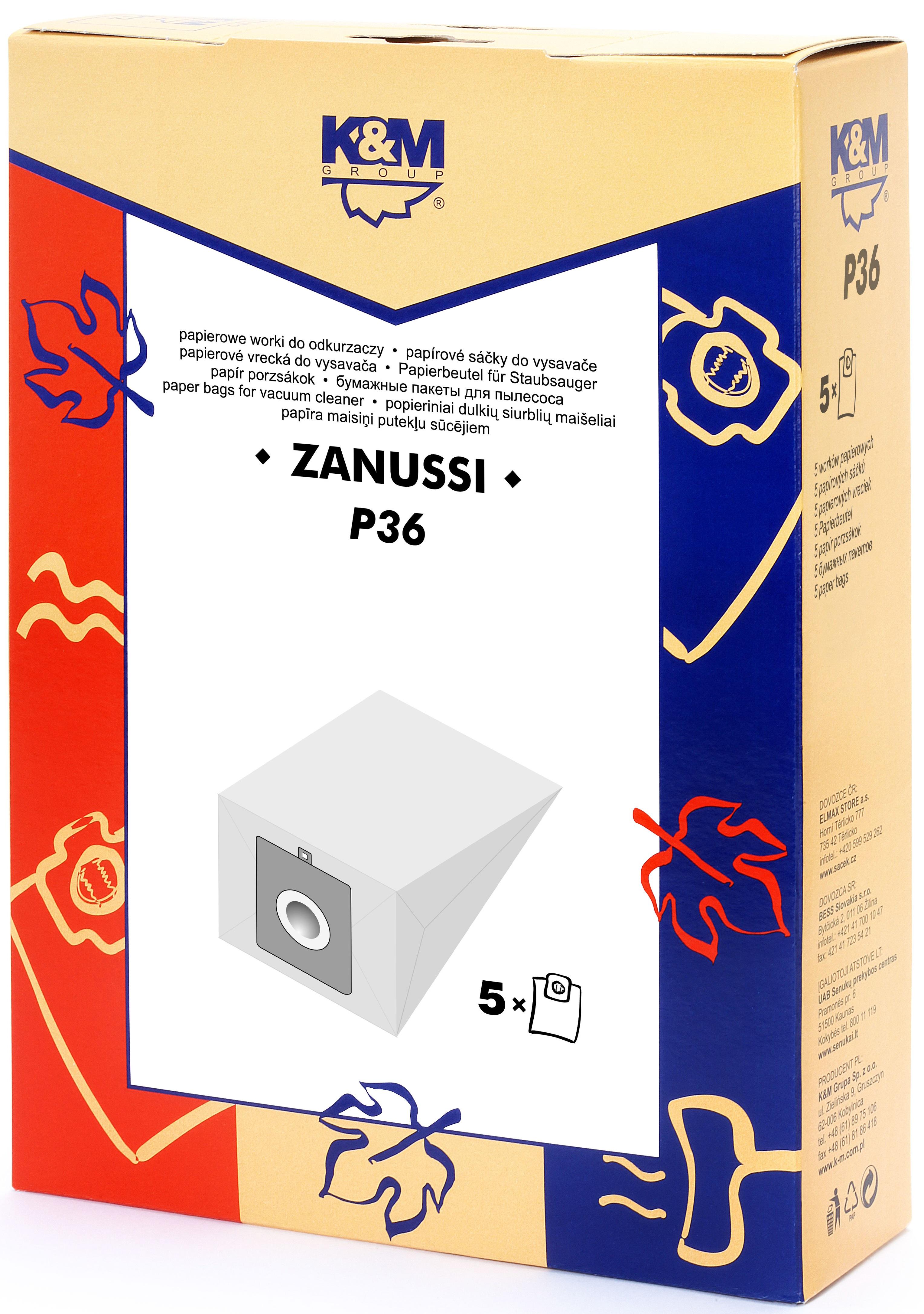 Sac aspirator Zanussi 3321, 3341, hartie, 5X saci, K&M [0]