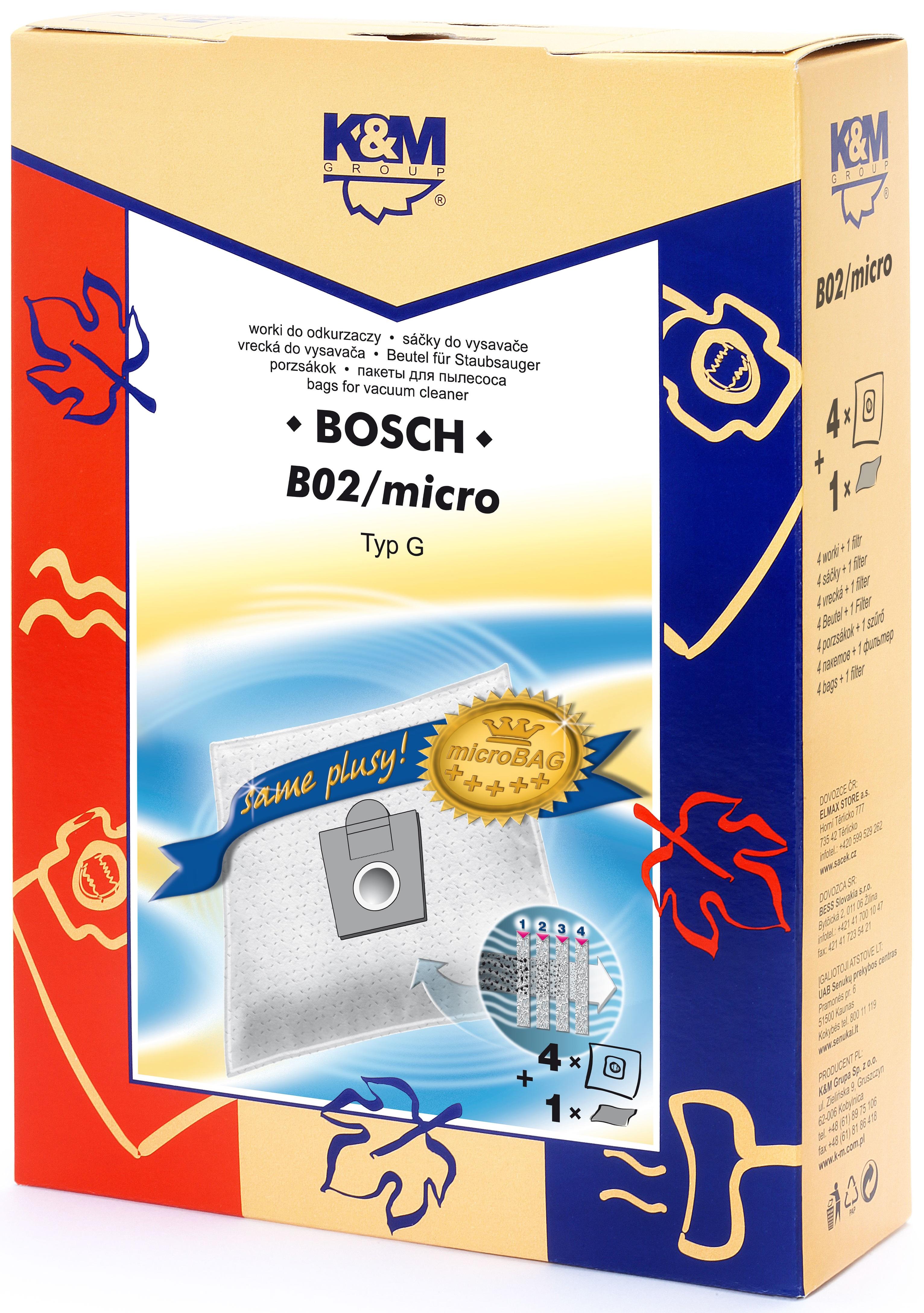 Sac aspirator pentru Bosch/Siemens typ E,D,G, sintetic, 4 saci + 1 filtru, K&M [0]