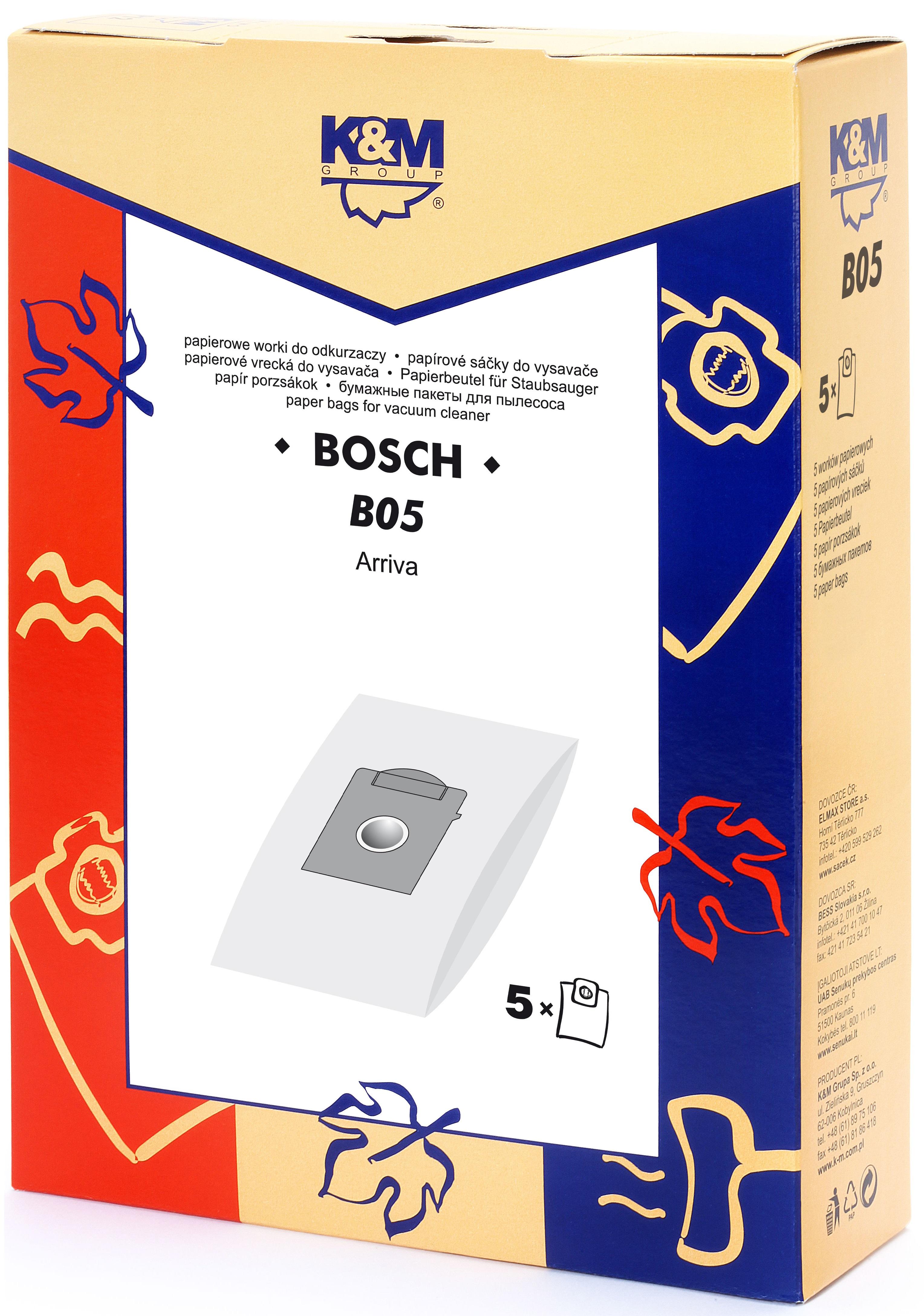 Sac aspirator pentru Bosch/Siemens typ K, hartie, 5X saci, K&M 0