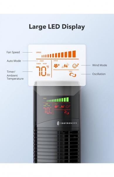 Ventilator turn TaoTronics TT-TF002, 60W cu telecomanda si 3 viteze, display LED 1