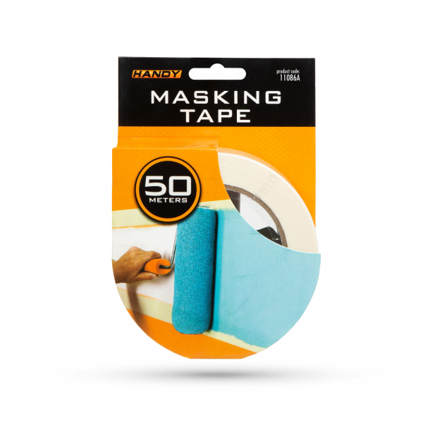Banda de mascare - cu adeziv pe baza de apa - 50 m x 24 mm - alb 2