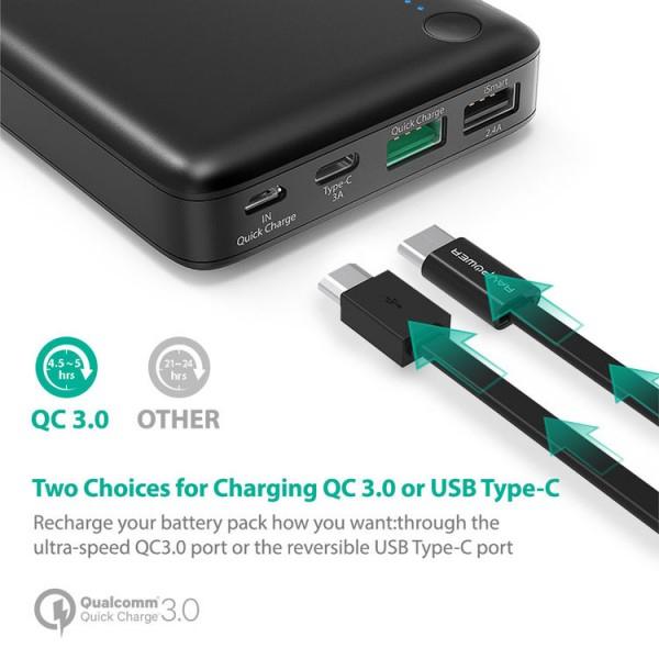Baterie Externa RavPower 20100mAh 2 X USB + 1XUSB-C, Qualcomm QuickCharge QC3.0, model RP-PB043 4
