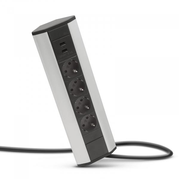 Priza de colt 4 posturi x 250V, 16A + 2 x USB, 2,1A [1]
