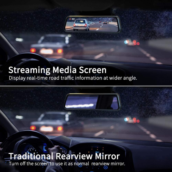 Camera auto DVR Dubla Oglinda VanTop H610  2.5K  Bord si Spate  Touch Screen  Unghi 160 grade  Senzor Sony IMX 335  G Senzor  Display 10   IPS 3