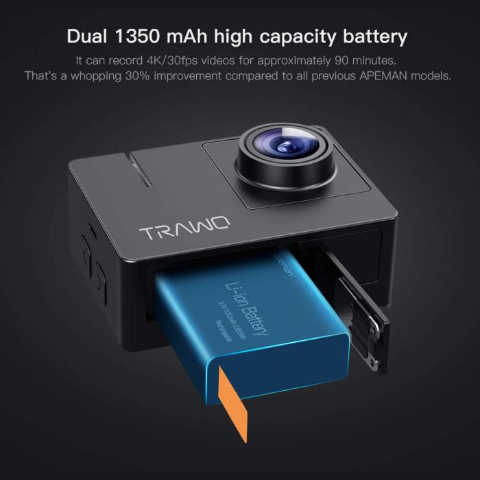 Camera video sport Apeman A100 TRAWO, 4K 50fps, Wi-Fi, Stabilizator imagine, waterproof 40m, 2-inch, 2 Acumulatori [4]