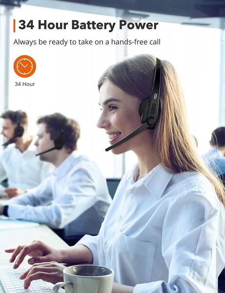 Casti call center cu bluetooth TaoTronics TT-BH04, Microfon, AI Noise Cancelling, functionare 34 ore 1