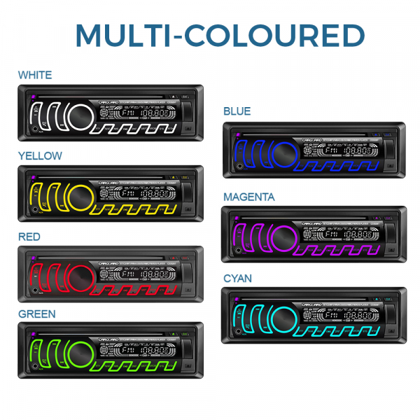 CD MP3 player auto cu BLUETOOTH, butoane in 7 culori diferite, FM, USB card SD, AUX IN 9