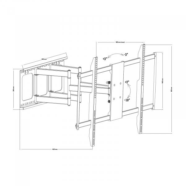 """Consolă-suport de perete pentru TV LCD, cu braţ, 60""""-100"""" sarcina max. 80kg 2"""