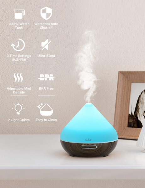 Difuzor aroma cu Ultrasunete Anjou AJ AD001 300ml 13W LED 7 culori si oprire automata 4