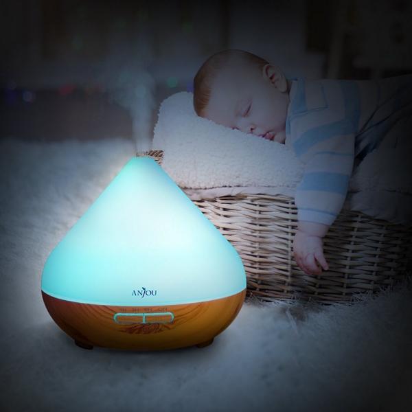 Difuzor aroma cu Ultrasunete Anjou AJ AD001 300ml 13W LED 7 culori  oprire automata Nuc Natur 4