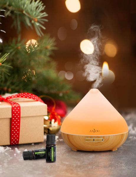 Difuzor aroma cu Ultrasunete Anjou AJ AD001 300ml 13W LED 7 culori  oprire automata Nuc Natur 6