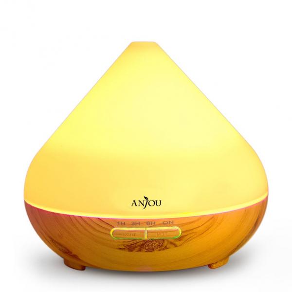 Difuzor aroma cu Ultrasunete Anjou AJ AD001 300ml 13W LED 7 culori  oprire automata Nuc Natur 0