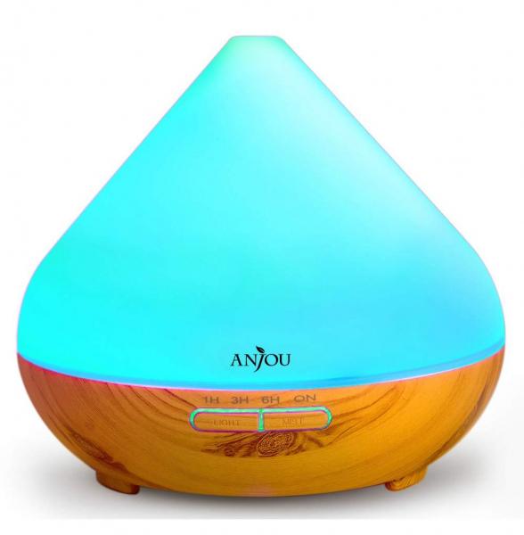 Difuzor aroma cu Ultrasunete Anjou AJ AD001 300ml 13W LED 7 culori  oprire automata Nuc Natur 1