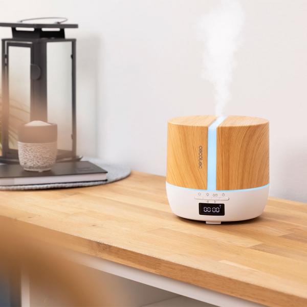 Difuzor aroma cu Ultrasunete Smart Cecotec PureAroma 550 Connected, control din Smartphone, 7 culori LED, boxa incorporata - Stejar 5