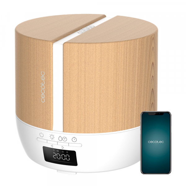 Difuzor aroma cu Ultrasunete Smart Cecotec PureAroma 550 Connected, control din Smartphone, 7 culori LED, boxa incorporata - Stejar 0