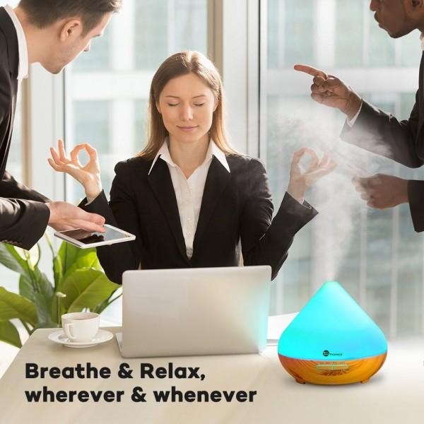 Difuzor aroma cu Ultrasunete TaoTronics TT AD002 300ml 13W LED 7 culori oprire automata Nuc natur 2