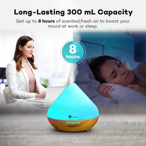 Difuzor aroma cu Ultrasunete TaoTronics TT AD002 300ml 13W LED 7 culori oprire automata Nuc natur 8
