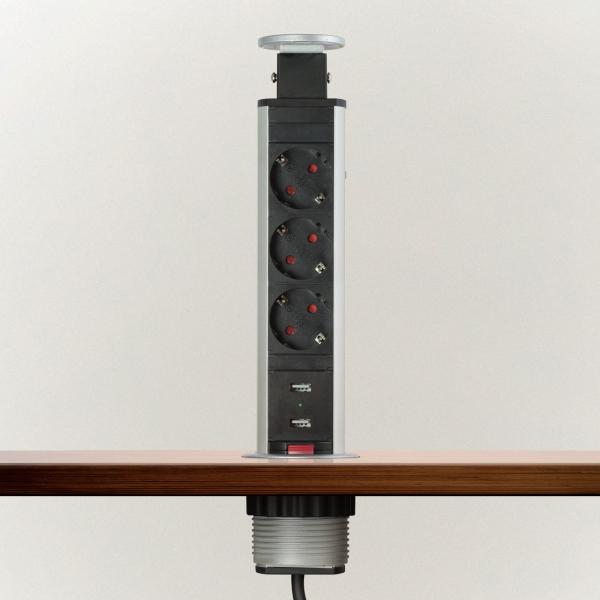Distribuitor 3 prize camuflat în mobilier, USB- metalizat-satinat 1