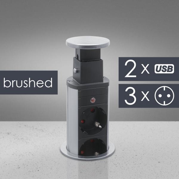Distribuitor 3 prize camuflat în mobilier, USB- metalizat-satinat 0