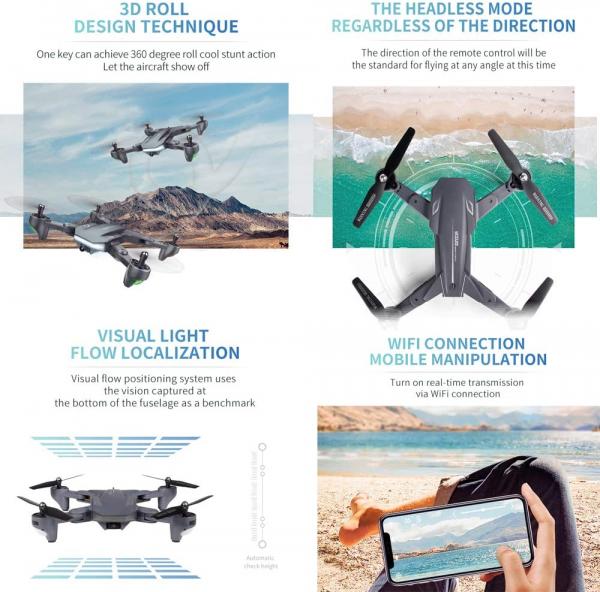 Drona Visuo XS816, Camera 4K cu transmisie pe telefon, Control gesturi, Altitudine automata, Pozitionare optica [4]