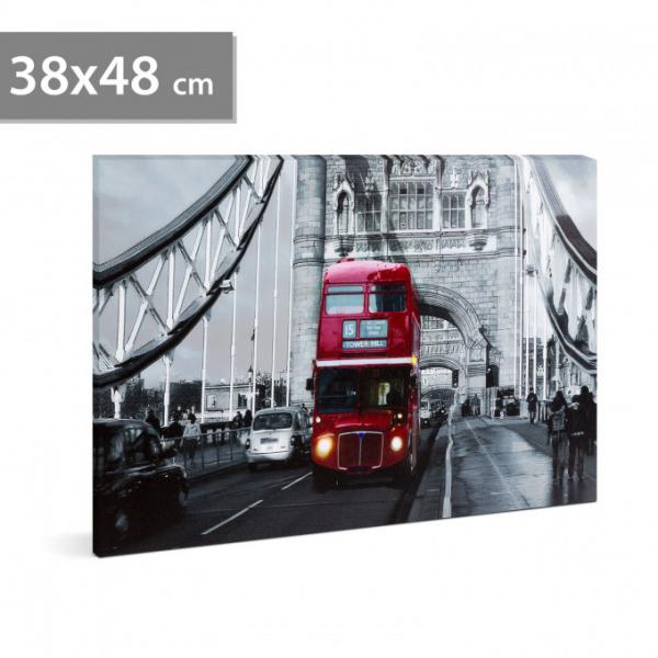 "Tablou cu LED - ""London Bus"", 2 x AA, 38 x 48 cm 0"