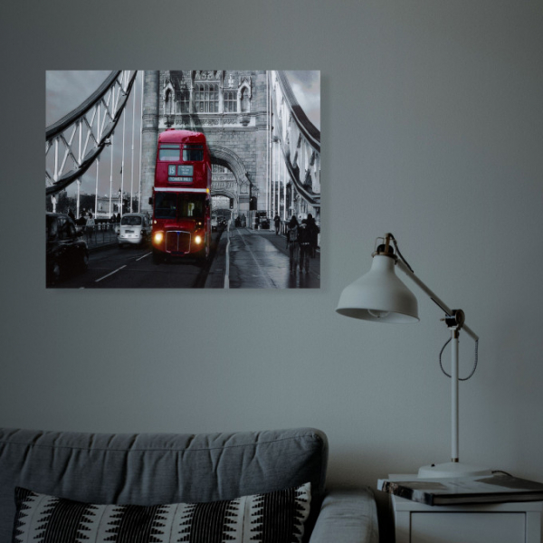 "Tablou cu LED - ""London Bus"", 2 x AA, 38 x 48 cm 1"