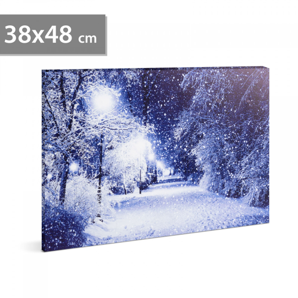 FAMILY POUND - Tablou cu LED - peisaj de iarna, 2 x AA, 38 x 48 cm 0