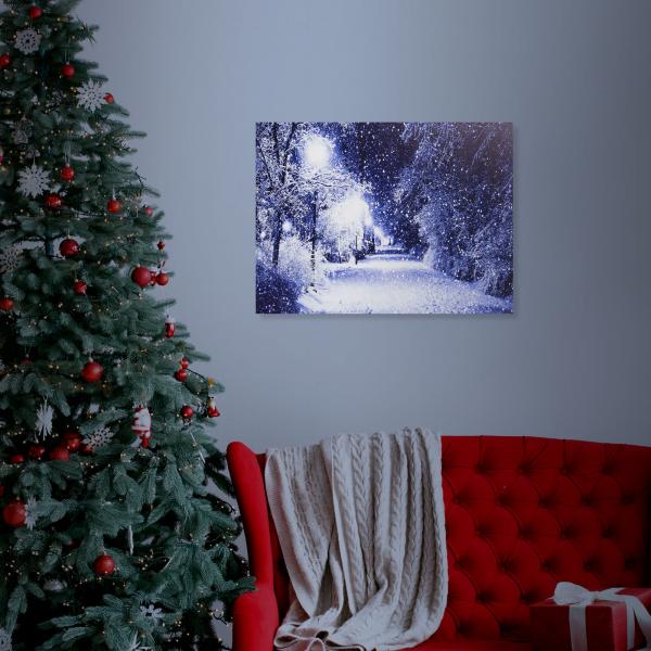 FAMILY POUND - Tablou cu LED - peisaj de iarna, 2 x AA, 38 x 48 cm 1