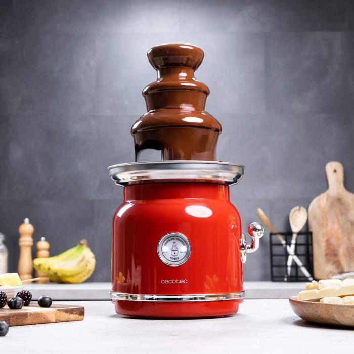 Fantana de ciocolata, Cecotec Fun Chocolicious, 90W, design retro,3 niveluri, Capacitate 700ml, Inox [0]