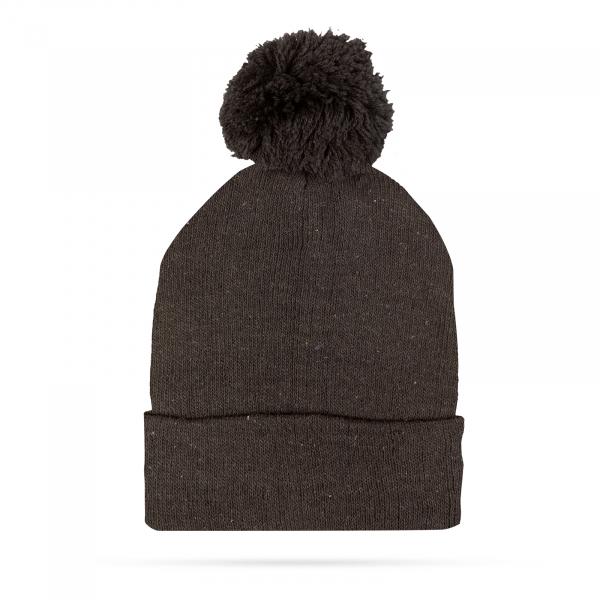 Fes, caciula tricotată de iarnă - negru - cu pompon 0